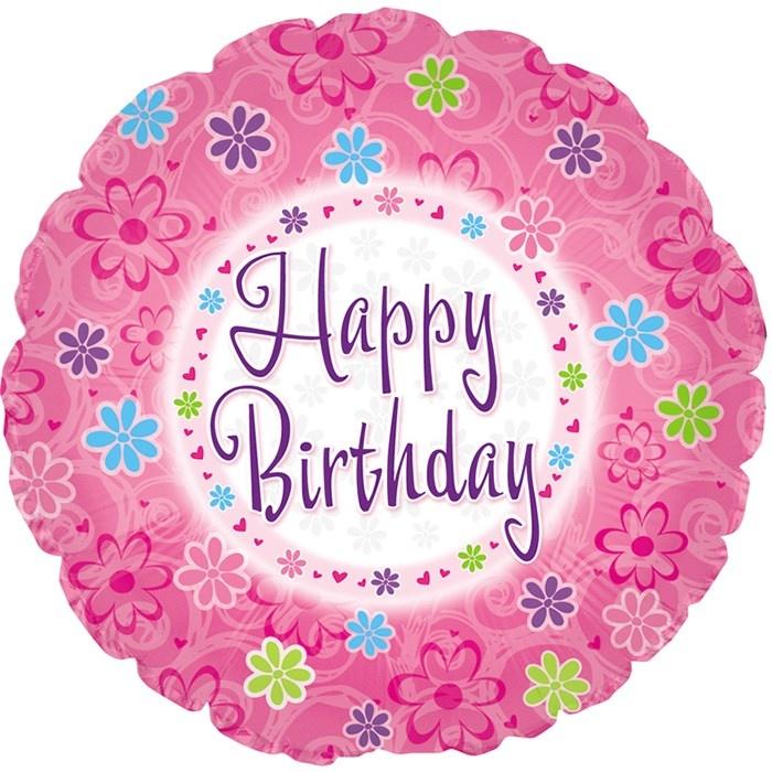 фольгированный круг happy birthday с цветами