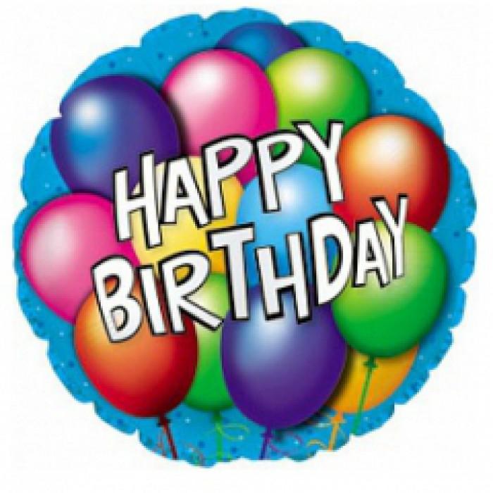 фольгированный круг happy birthday с шарами