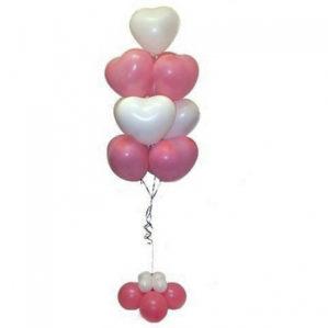 Сердца бело-розовые